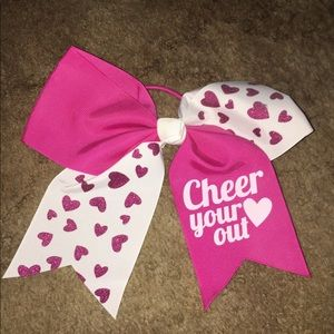 Pink and white cheer bow